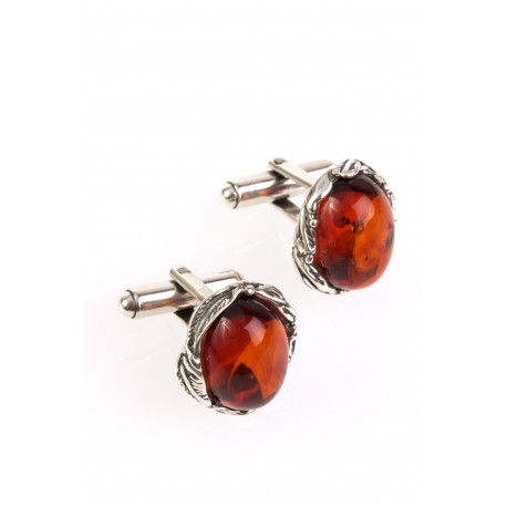 "Silver cufflinks with amber ""Cognac Luxury"""