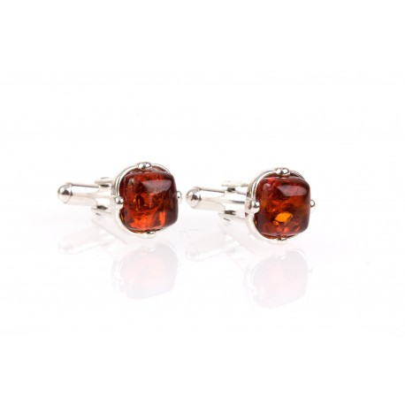 """Silver cufflinks with silver """"Style Ambassador"""""""