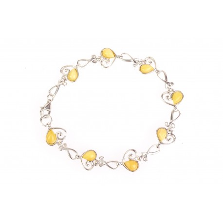 "Silver bracelet with amber ""Heavenly Kingdom"""