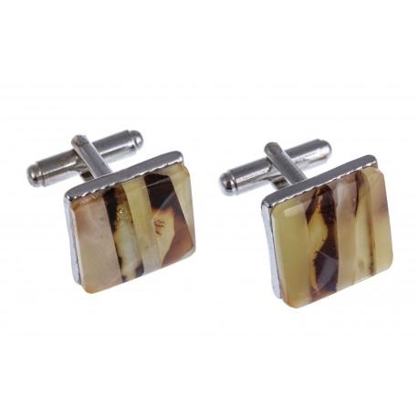"Square-form amber cufflinks "" Pedant"""