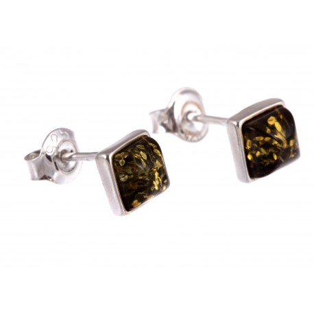 """Silver earrings with amber """"Cognac Blossoms"""""""