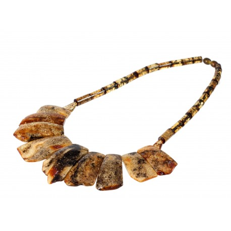 Natural green amber necklace
