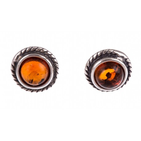 """Silver earrings with amber """"The Silence"""""""