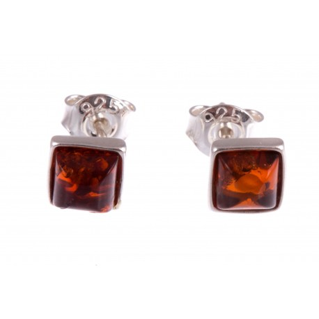 "Silver earrings with amber ""The Silence of the Night"""