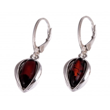 """Silver earrings with amber """"The Patterns of the Sunset"""""""