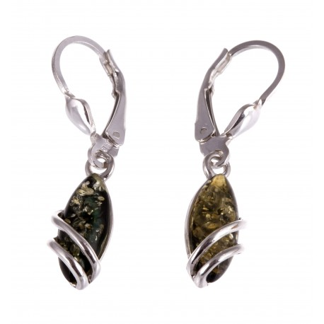 "Silver earrings with amber ""Creepers"""