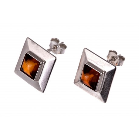 """Silver earrings with amber """"Yellow Square"""""""