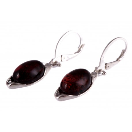 """Silver earrings with amber """"Hanging Gardens"""""""