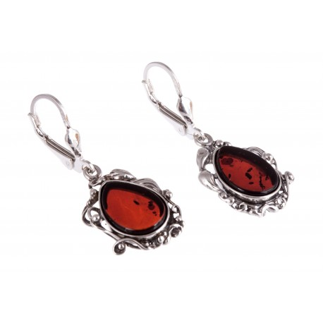 """Silver earrings with amber """"The Mirror of a Soul"""""""