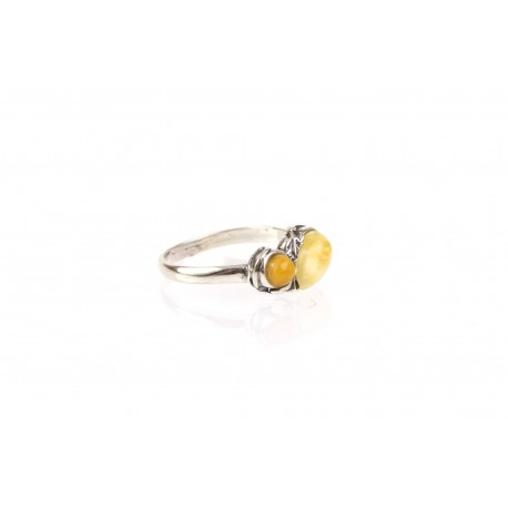 "Silver ring with amber ""Summer Glow"""