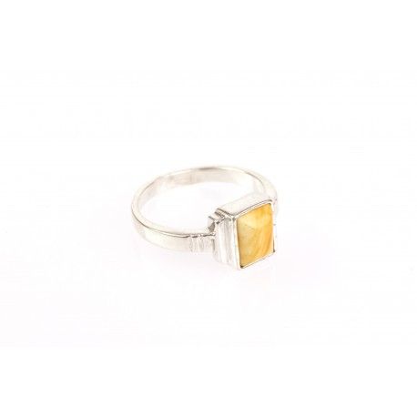"Silver ring with amber ""Mars Canyons"""