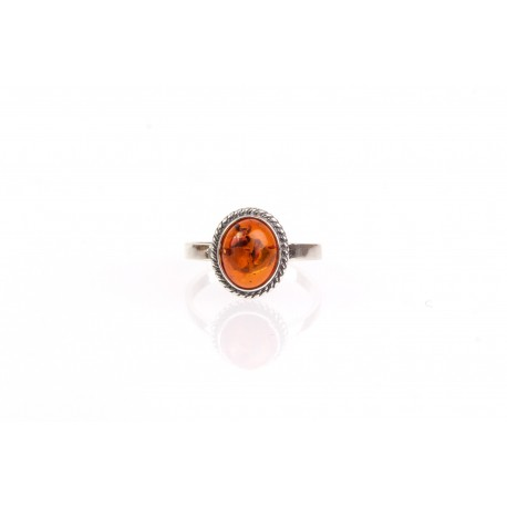 """Silver ring with amber """"Cognac Dream"""""""