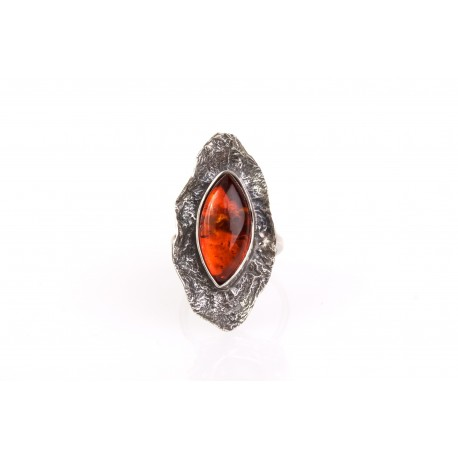 """Silver ring with amber eye """"Autumn's Leaf"""""""