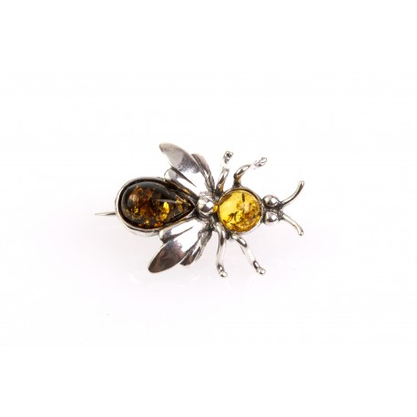 "Silver brooch with amber eyes ""Hornet"""