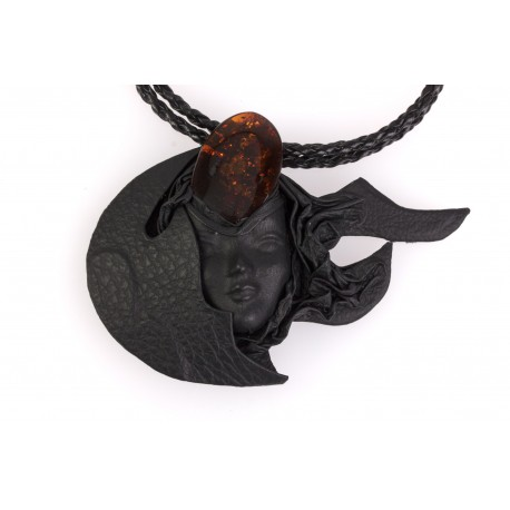 "Black leather necklace with amber ""The Moon Goddess"""