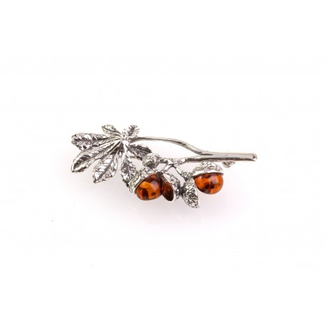 "Silver brooch with amber ""The Branch of a Chestnut Tree"""