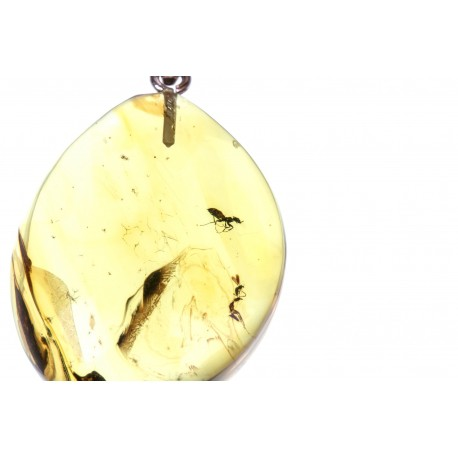 Silver-amber pendant with inclusion