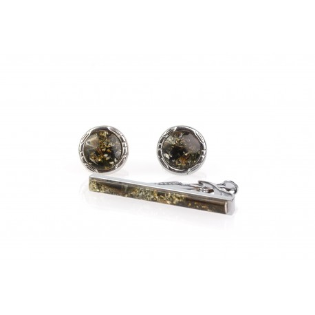 Set of cufflinks and a tie clip decorated with amber