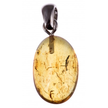 Silver pendant with amber inclusion