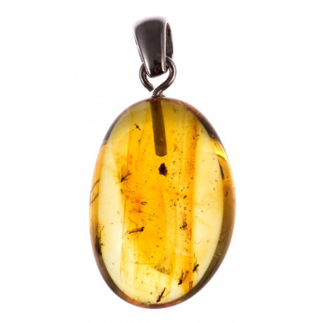 Silver-amber pendant with an inclusion