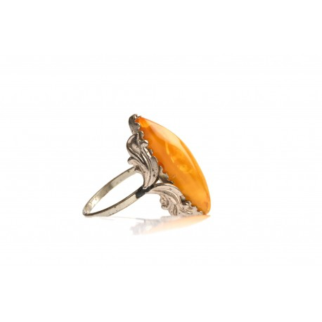 Antiquarian, metal ring with yellow amber