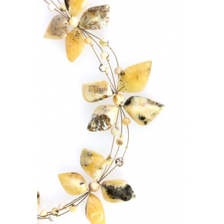 "Amber necklace ""Marble Flowers"""
