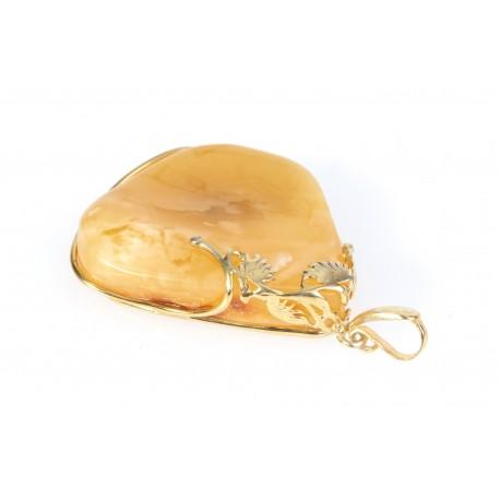 "Amber - gilded silver pendant ""Brightness"""