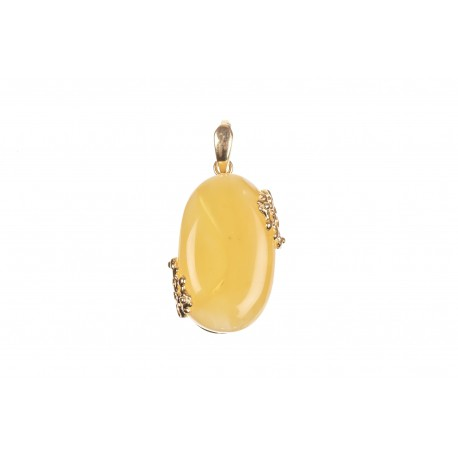 """Gilded silver pendant with amber """"Yin-Yang"""""""