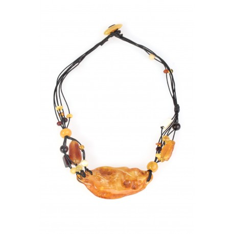"Necklace with multicoloured amber ""The Spring of Strength"""