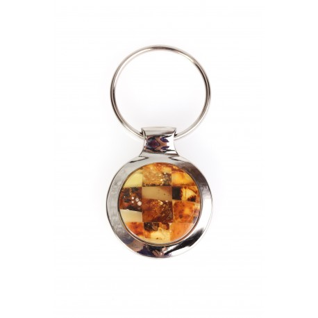 Metal, Baltic amber mosaic decorated keyring