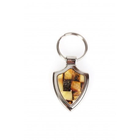 Metal keyring decorated with amber's mosaic