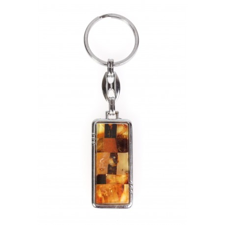 Two-sided keyring decorated with amber
