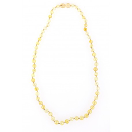 "Clear, lemon-colour amber beads ""The Revival of a Morning"""