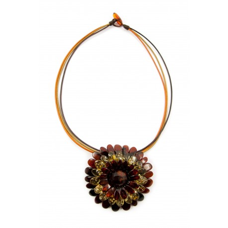 "Cognac and lemon amber necklace-brooch ""Flower"""