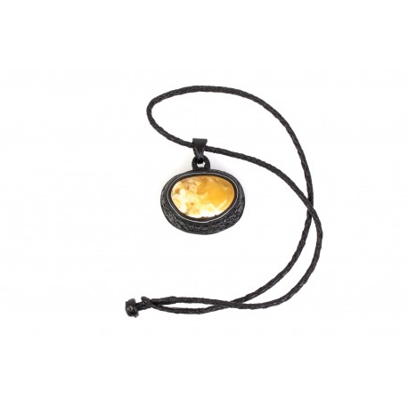 Black leather necklace with the white, Baltic amber