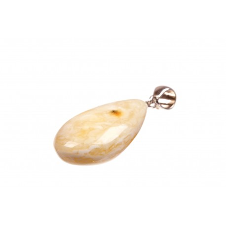 """Amber pendant with a silver loop """"Icy Drop"""""""