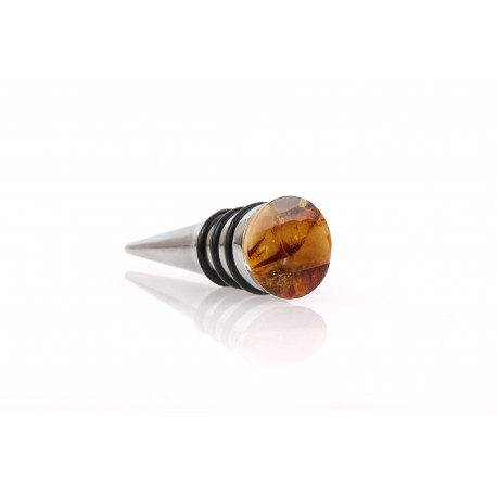 Wine bottle stopper decorated with the amber mosaic