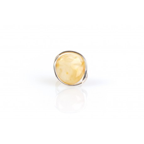 Silver ring with white, Baltic sea amber