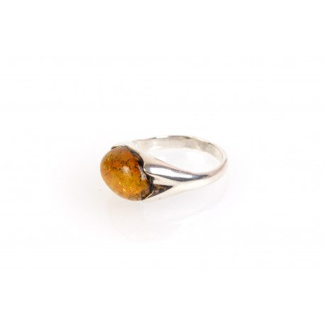 "Silver ring with amber eye ""The Power of the Sun"""