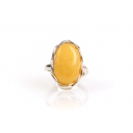 Silver ring with yellow amber