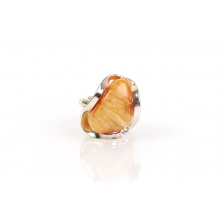 "Amber - silver ring with amber ""Silver Wave"""