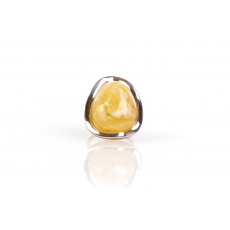 Amber - silver ring with white, Baltic Sea amber
