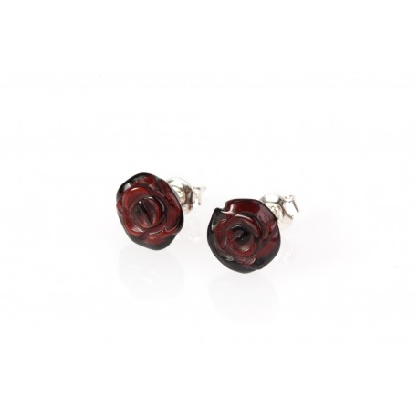 "Amber - silver earrings ""Cherry Roses"""