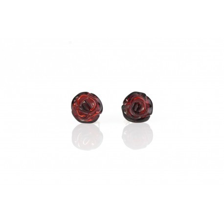 "Amber - silver earrings ""Flourishing Roses"""