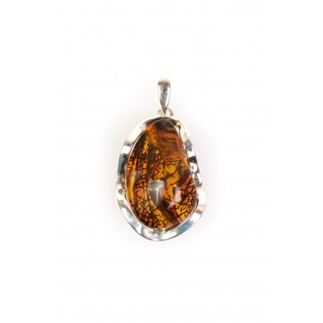 "Amber - silver pendant ""Life's Roads"""