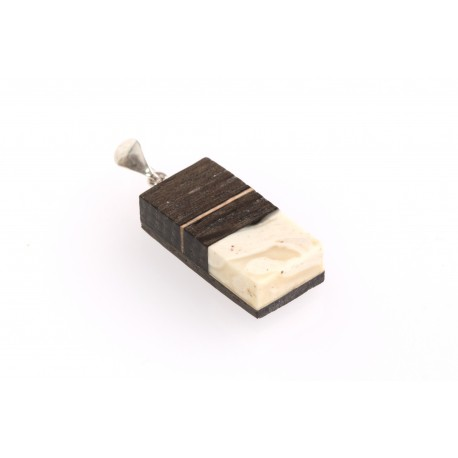 Pendant with wood and white, Baltic Sea amber