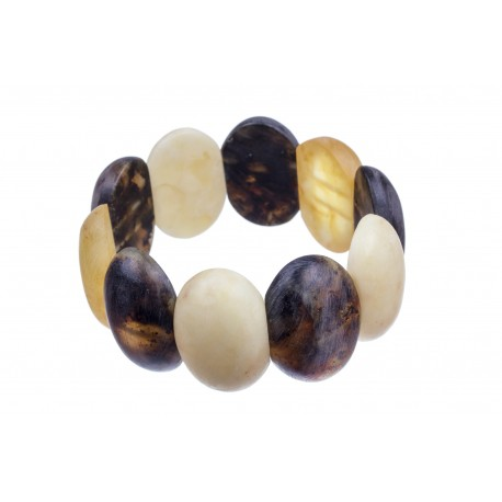 Massive bracelet of  three-colour amber pieces