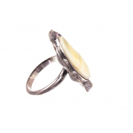 Amber - silver ring with white amber inlay