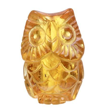 Yellow amber figurine - an owl