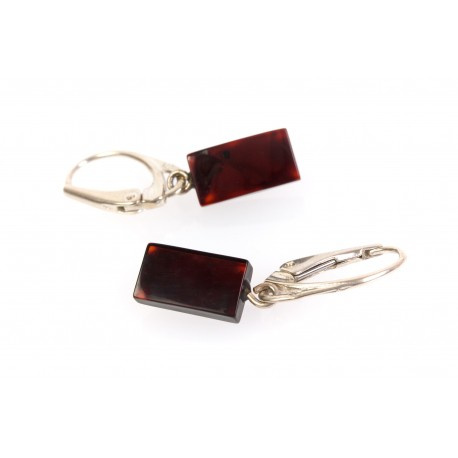 Cherry amber earrings with silver leverback clasp